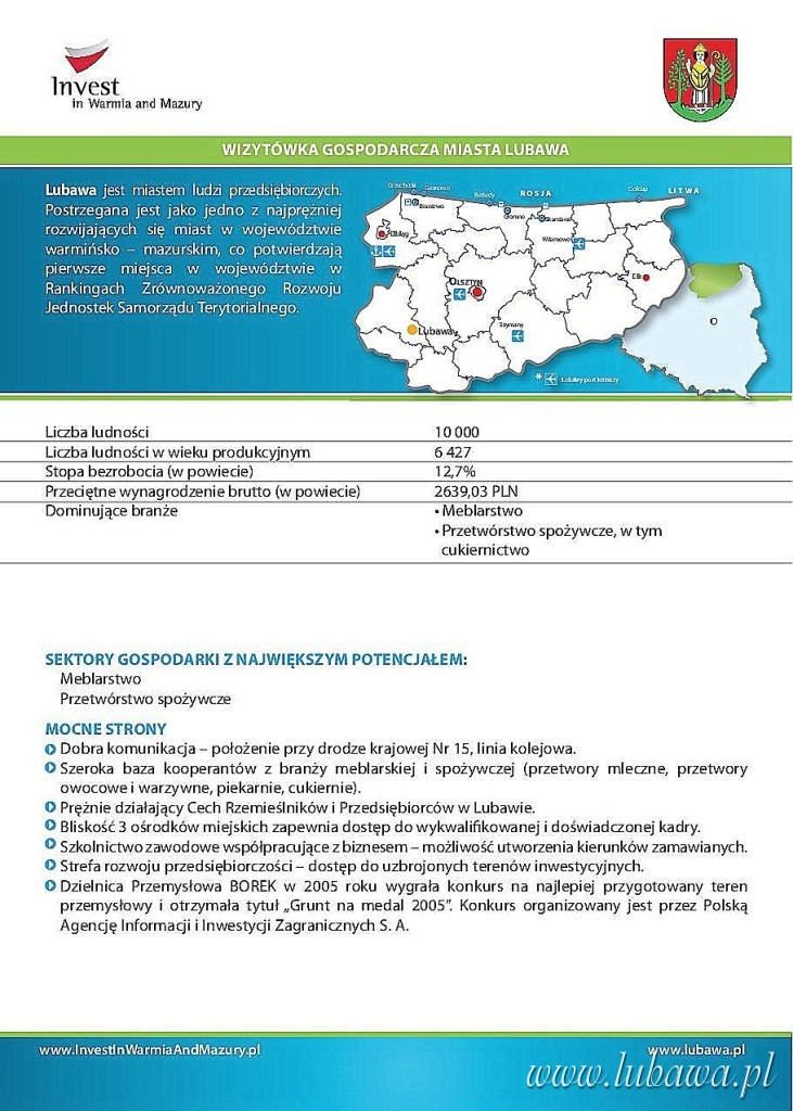 wizytówka miasta lubawa